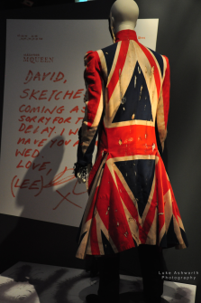 Union Jack coat, 1997 Alexandra McQueen and David Bowie display